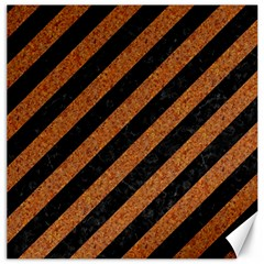 Stripes3 Black Marble & Rusted Metal (r) Canvas 16  X 16   by trendistuff