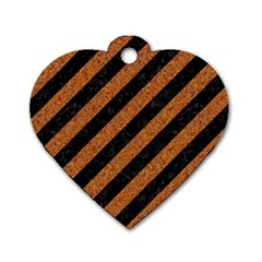 Stripes3 Black Marble & Rusted Metal (r) Dog Tag Heart (one Side) by trendistuff