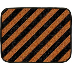 Stripes3 Black Marble & Rusted Metal (r) Double Sided Fleece Blanket (mini)  by trendistuff