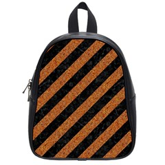Stripes3 Black Marble & Rusted Metal (r) School Bag (small) by trendistuff