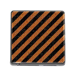 Stripes3 Black Marble & Rusted Metal (r) Memory Card Reader (square) by trendistuff