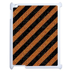 Stripes3 Black Marble & Rusted Metal (r) Apple Ipad 2 Case (white) by trendistuff
