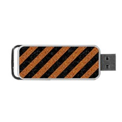 Stripes3 Black Marble & Rusted Metal (r) Portable Usb Flash (one Side) by trendistuff