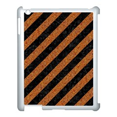 Stripes3 Black Marble & Rusted Metal (r) Apple Ipad 3/4 Case (white) by trendistuff