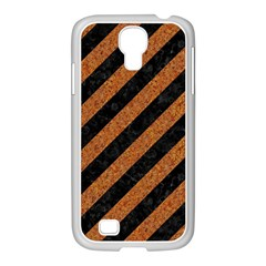 Stripes3 Black Marble & Rusted Metal (r) Samsung Galaxy S4 I9500/ I9505 Case (white) by trendistuff