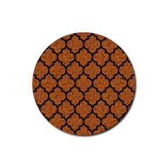 Tile1 Black Marble & Rusted Metal Rubber Coaster (round)  by trendistuff