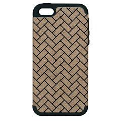 Brick2 Black Marble & Sand Apple Iphone 5 Hardshell Case (pc+silicone) by trendistuff