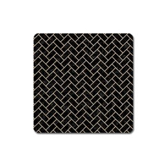 Brick2 Black Marble & Sand (r) Square Magnet by trendistuff