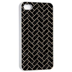 Brick2 Black Marble & Sand (r) Apple Iphone 4/4s Seamless Case (white) by trendistuff