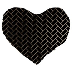 Brick2 Black Marble & Sand (r) Large 19  Premium Flano Heart Shape Cushions by trendistuff