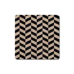 Chevron1 Black Marble & Sand Square Magnet by trendistuff