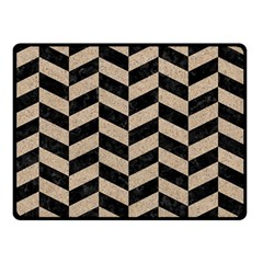 Chevron1 Black Marble & Sand Double Sided Fleece Blanket (small)  by trendistuff