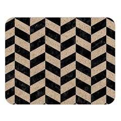 Chevron1 Black Marble & Sand Double Sided Flano Blanket (large)  by trendistuff