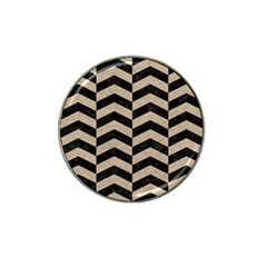 Chevron2 Black Marble & Sand Hat Clip Ball Marker by trendistuff