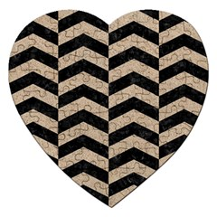 Chevron2 Black Marble & Sand Jigsaw Puzzle (heart) by trendistuff