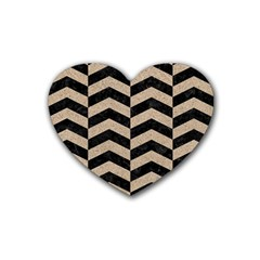 Chevron2 Black Marble & Sand Heart Coaster (4 Pack)  by trendistuff