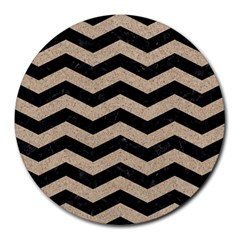 Chevron3 Black Marble & Sand Round Mousepads by trendistuff