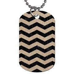 Chevron3 Black Marble & Sand Dog Tag (one Side) by trendistuff