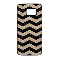 Chevron3 Black Marble & Sand Samsung Galaxy S7 Edge Black Seamless Case by trendistuff