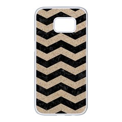 Chevron3 Black Marble & Sand Samsung Galaxy S7 Edge White Seamless Case by trendistuff