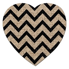 Chevron9 Black Marble & Sand Jigsaw Puzzle (heart) by trendistuff