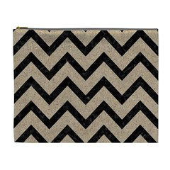 Chevron9 Black Marble & Sand Cosmetic Bag (xl) by trendistuff