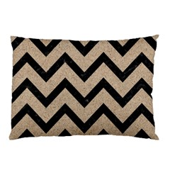 Chevron9 Black Marble & Sand Pillow Case (two Sides) by trendistuff