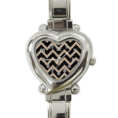 Chevron9 Black Marble & Sand (r) Heart Italian Charm Watch by trendistuff