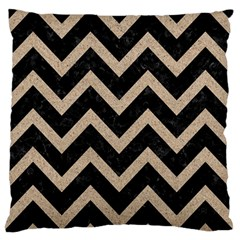 Chevron9 Black Marble & Sand (r) Large Flano Cushion Case (one Side) by trendistuff