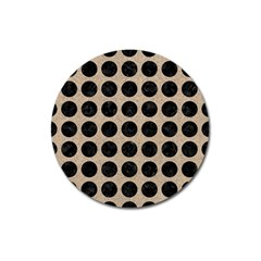 Circles1 Black Marble & Sand Magnet 3  (round) by trendistuff