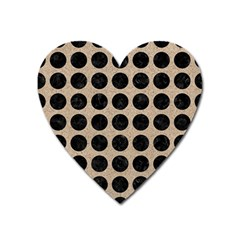 Circles1 Black Marble & Sand Heart Magnet by trendistuff