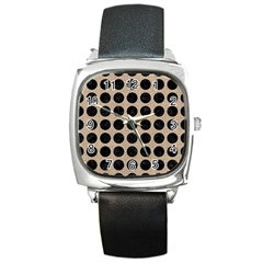 Circles1 Black Marble & Sand Square Metal Watch by trendistuff