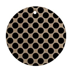Circles2 Black Marble & Sand Round Ornament (two Sides) by trendistuff
