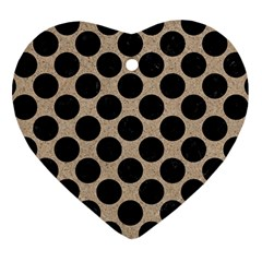 Circles2 Black Marble & Sand Heart Ornament (two Sides) by trendistuff