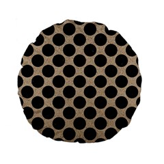 Circles2 Black Marble & Sand Standard 15  Premium Flano Round Cushions by trendistuff