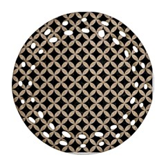 Circles3 Black Marble & Sand (r) Round Filigree Ornament (two Sides) by trendistuff
