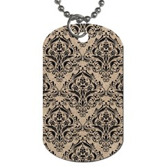 Damask1 Black Marble & Sand Dog Tag (one Side) by trendistuff