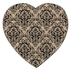 Damask1 Black Marble & Sand Jigsaw Puzzle (heart) by trendistuff
