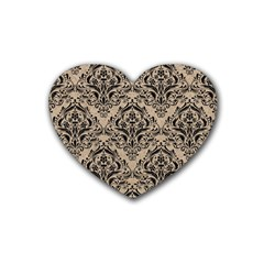 Damask1 Black Marble & Sand Heart Coaster (4 Pack)  by trendistuff