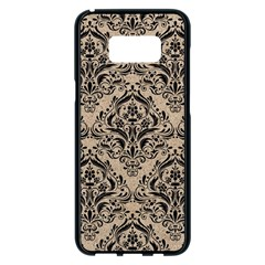 Damask1 Black Marble & Sand Samsung Galaxy S8 Plus Black Seamless Case by trendistuff