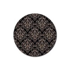 Damask1 Black Marble & Sand (r) Rubber Round Coaster (4 Pack)  by trendistuff