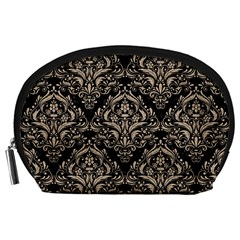 Damask1 Black Marble & Sand (r) Accessory Pouches (large)  by trendistuff