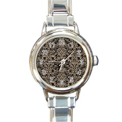 Damask2 Black Marble & Sand (r) Round Italian Charm Watch by trendistuff