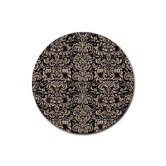 Damask2 Black Marble & Sand (r) Rubber Coaster (round)  by trendistuff