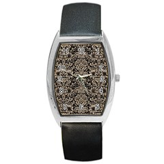 Damask2 Black Marble & Sand (r) Barrel Style Metal Watch by trendistuff