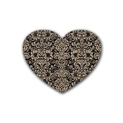Damask2 Black Marble & Sand (r) Heart Coaster (4 Pack)  by trendistuff