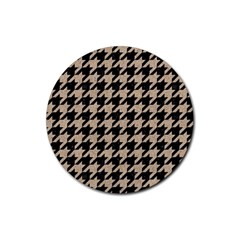 Houndstooth1 Black Marble & Sand Rubber Coaster (round)  by trendistuff