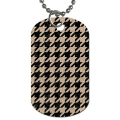 Houndstooth1 Black Marble & Sand Dog Tag (one Side) by trendistuff