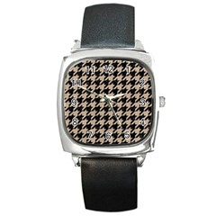 Houndstooth1 Black Marble & Sand Square Metal Watch by trendistuff