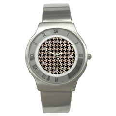 Houndstooth1 Black Marble & Sand Stainless Steel Watch